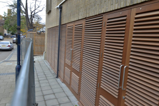INDUSTRIAL STEEL DOUBLE LOUVERED DOOR SETS FABRICATED TO LPS1175 SR2 AND PAS24 STANDARD. PRODUCED AND INSTALLED BY PREMIER SECURITY CONSULTANTS LTD.