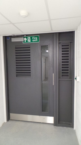 INDUSTRIAL STEEL DOORS WITH LOUVRE SECTIONS FABRICATED TO LPS1175 SR2 AND PAS24 STANDARD. PRODUCED AND INSTALLED BY PREMIER SECURITY CONSULTANTS LTD.