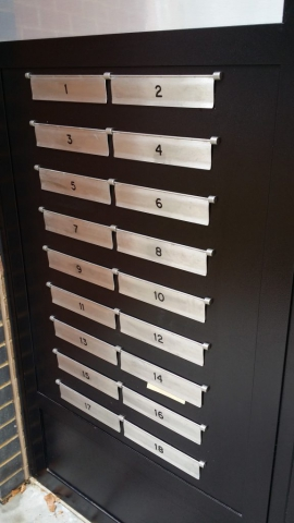 COMMUNAL STEEL SECURITY MAILBOX SYSTEM WITH SBD CERTIFICATION.