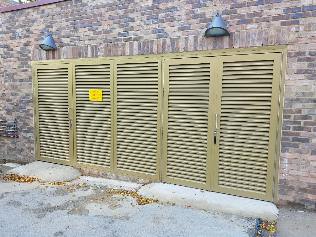 INDUSTRIAL STEEL LOUVERED DOORS FABRICATED TO LPS1175 SR2 AND PAS24 STANDARD. PRODUCED AND INSTALLED BY PREMIER SECURITY CONSULTANTS OF ILFORD.
