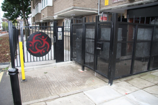 METAL GATES COMMUNAL BIN STORAGE AREA FABRICATED AND INSTALLED BY PREMIER SECURITY CONSULTANTS THE HOME OF SECURED BY DESIGN