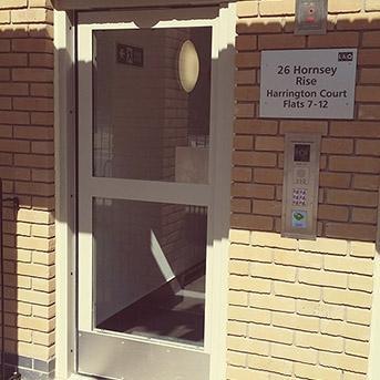 EXTERNAL COMMUNAL ENTRANCE STEEL DOOR. PAS24 SECURED BY DESIGN.
