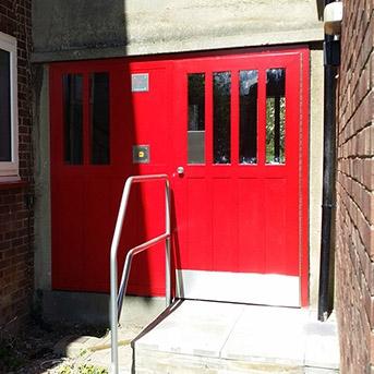 SBD COMMUNAL ENTRANCE DOOR SET FABRICATED IN STEEL TO LPS1175 SR2 STANDARD.