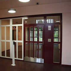 INTERNAL STEEL FIRE RATED DOOR AND SIDE PANELS. SECURED BY DESIGN. INSTALLED BY PREMIER SECURITY CONSULTANTS.