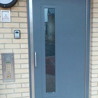 SINGLE COMMUNAL ENTRANCE STEEL DOOR FABRICATED TO LPS1175 SR2 OR PAS24 STANDARD