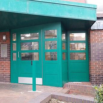 SECURED BY DESIGN COMMUNAL ENTRANCE DOOR SET FABRICATED IN STEEL TO LPS1175 SR2 STANDARD