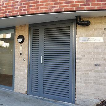 LOUVRED STORAGE ROOM DOORS. MADE IN STEEL PAS 24 LPS1175 SR2