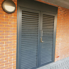 DOUBLE STEEL LOUVRE DOORS. PAS24. SECURED BY DESIGN. INSTALLED IN LONDON.LPS1175 SR2