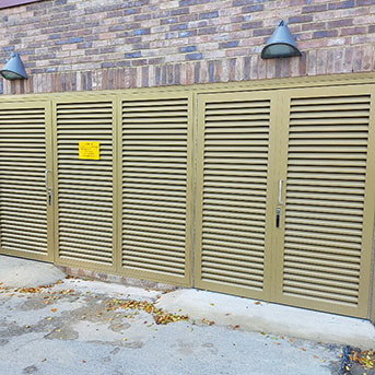 STEEL LOUVRE DOORS FABRICATED AND INSTALLED BY PREMIER SECURITY CONSULTANTS. PAS24 LPS1175 SR2